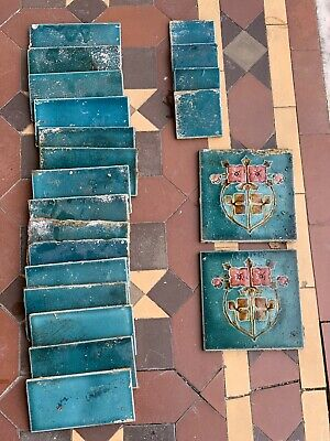 Antique Original Teal Blue Victorian Hearth Fireplace Tiles
