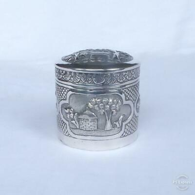 ANTIQUE LATE 19TH EARLY 20TH CENTURY INDIAN SOLID SILVER LIDDED POT 97g