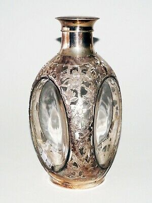 Vintage Japanese 950 Sterling Silver Floral Motif Glass Decanter by Suzuyo (SRi)