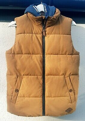 Boys Clothes Age 12 Yrs, Next Mustard Warm Winter Padded Hooded Bodywarmer/Gilet