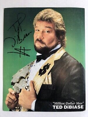 Million Dollar Man Ted DiBiase Signed 1990 Classic WWE Card #8 Autographed WWF