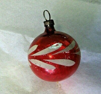 Antique Vint 1900's DECORATED BALL German Feather Tree Mercury Glass Ornament