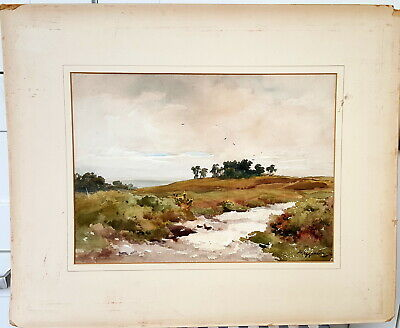 Antique Watercolor of English Landscape. Signed. Early 20th century.