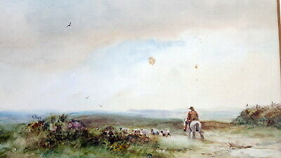 Antique Watercolor of English Landscape. Early 20th century.