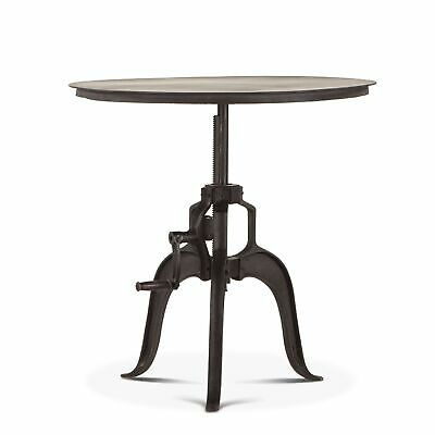 "30""-40"" T Adjustable Side Table Industrial Reclaimed Cast Iron Hand Crank Base"