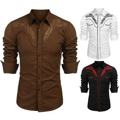 Men Fashion Turn Down Collar Long Sleeve Floral Embroidery Shirt GDY7