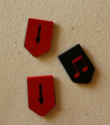 "Set of 3 Black & Red Magnet Musical Note Bookmarks 1 1/4"" Each"