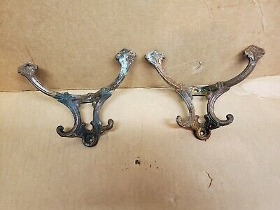 Vintage Ornate Cast Iron Wall Coat Hat Hooks Rustic Antique Rusty Grungy