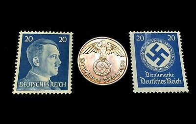 Rare Old WWII German War Coin Two Rp & 20Pf Stamps World War 2 Artifacts