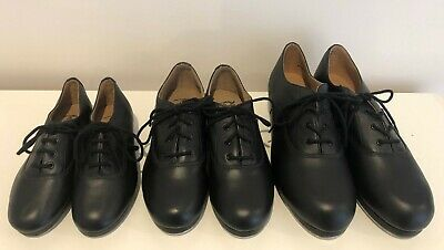 BLACK TAP DANCE SHOES -  Lace Up Oxford Style Taps Attached Great Boys Tap Shoe