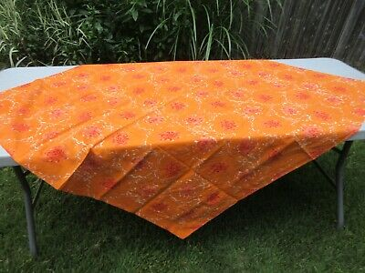 """Vintage orange cotton abstract VERA square tablecloth mod groovy 50"""""""