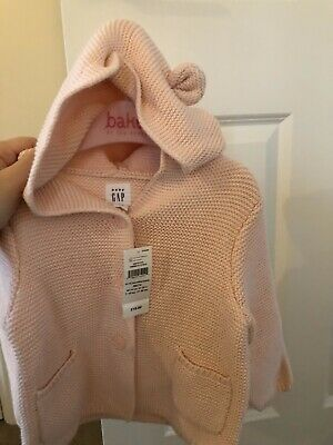 NEW WITH TAGS Baby GAP Cardigan 6-12 Months Girls Pink Knitted Jacket With Hood