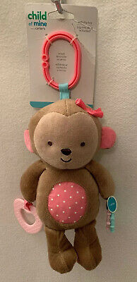 CHILD of MINE Carter's NWT Brown Pink Monkey Teether Rattle Stroller Toy Lovey