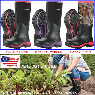 HISEA Women's Rain Snow Boots Wellies Breathable Muck Working Hunting Tall Boots