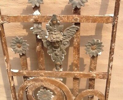 Rare Antique Wrought Iron With Angels For Doors, Windows, Courtyard, Garden