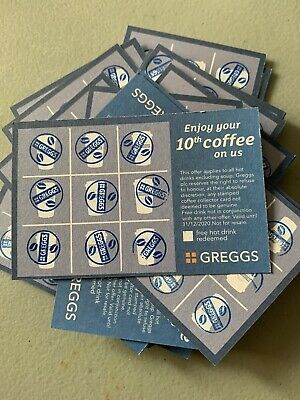Greggs Loyalty Fully Stamped Cards X20 Hot Drink Dec 2020 Expiry