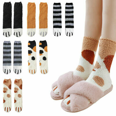 6 Pairs Cat Claws Soft Fluffy Cosy Bed Coral Fleece Socks Winter Warm Casual