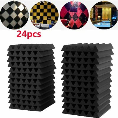 24PC Acoustic Panels Tiles Sound Closed Insulation Proofing Foam Cell