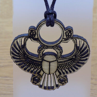Wooden Scarab Beetle Pendant &Black Cord Necklace Amulet Ancient Egyptian Symbol