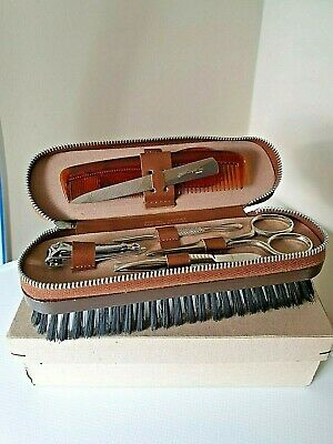Leather Travel Case Grooming Vanity Set Clothes Brush Vintage Retro Gift