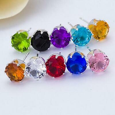 Unisex Fashion Elegant Sparkling Round Zircon Inlaid Ear Stud Earrings Jewelry C