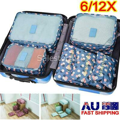 6/12 Packing Cubes Travel Pouches Luggage Organiser Clothes Suitcase Storage Bag
