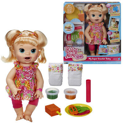 Baby Alive Super Snacks Snackin Sara Blonde Hair Baby Doll Hasbro Toy