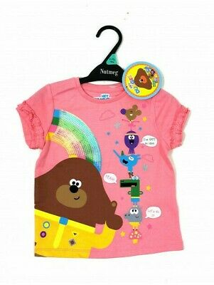 Hey Duggee & The Squirel Club Baby Girls Pink Cotton T-Shirt Top 12 18 24 Mths