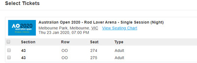 Australian Open Tickets - Thurs 23 Jan -Night Session x 2 Tickets -7pm Sold Out!