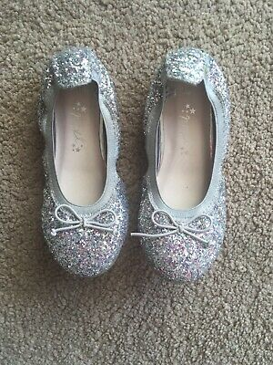 Girls Next Silver Sparkly Dolly Shoes Size 10