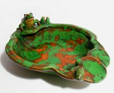 Rare Weller Arts & Crafts Signed Early 20Th C Vint Cer Frog Bowl, Mottled Glaze