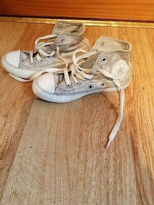 Girls silver sparkly converse boots trainers uk 11