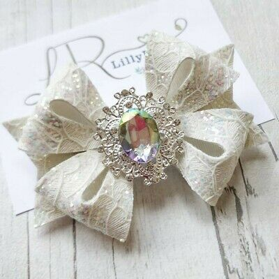 Handmade White Lace Glitter with large Sparkly Center Hair Bow