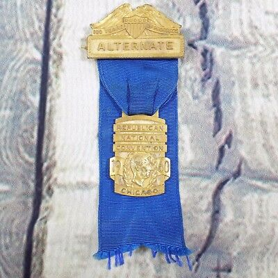 Vintage Republican National Convention Alternate Chicago Medal Ribbon Pin 1960