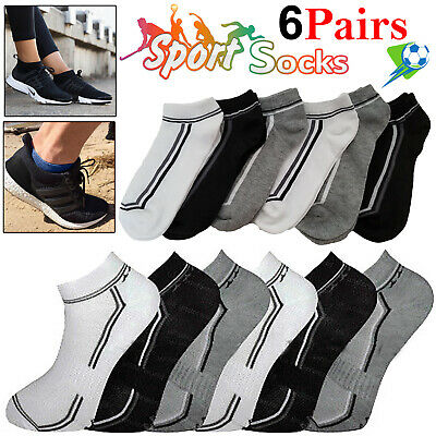 6 Pairs Mens Womens Trainer Liner Ankle Cotton Rich Sports Gym Socks UK LOT 6-11
