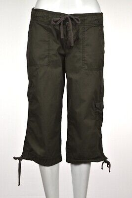 Calvin Klein Womens Jeans Size 8 Army Green Capri Cotton Casual Cropped Trousers
