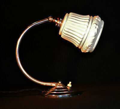 Stunning 1930s French Art Deco swan neck desk lamp Opaline milk glass shade