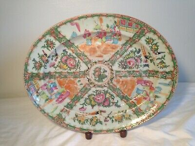 Antique Chinese Export Rose Medallion Large Oval Platter 16''