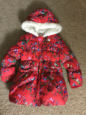 M&S Girls Red Butterfly Bird Floral Faux Fur Lined Hood Coat 5 6 Years Padded
