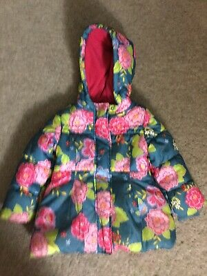M&S Indigo Girls Blue Floral Flowers  Hooded Coat 3 4 Years Padded