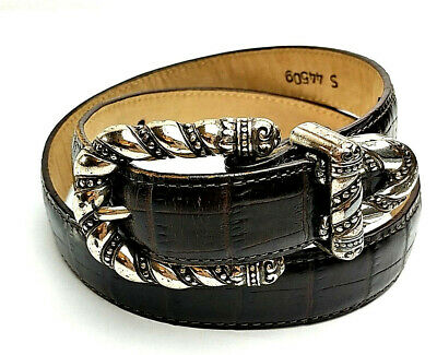 BRIGHTON Boys Embossed Leather & Buckle Belt Size S 4450g Dark Brown MADE in USA
