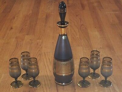 VTG CZECH BOHEMIAN Gold Floral & Stripe GRAY GLASS LIQUEUR CORDIAL DECANTER 8 PC