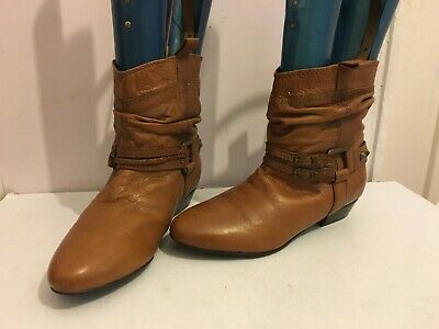 Genuine Leather Ankle Biker Size 6 Womens Ladies Flat Brown Tan Boots Shoes (Gg