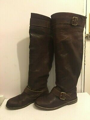 Genuine Leather Knee High Brown Size 6 Womens Ladies Flat Boots Shoes (Gg