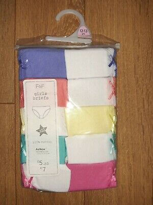 10 x Pairs Girls Multicoloured cotton Knickers/ Briefs Brand new in pack 12-13
