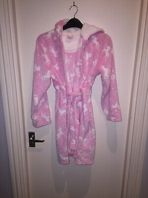 Next Girls Dressing Gown Pink Unicorn 10-11 Years