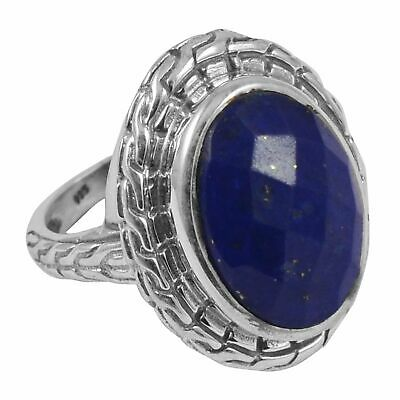 Faceted-Lapis Lazuli Solid 925 Sterling Silver Ring  Jewelry Size-6.75 FR-607