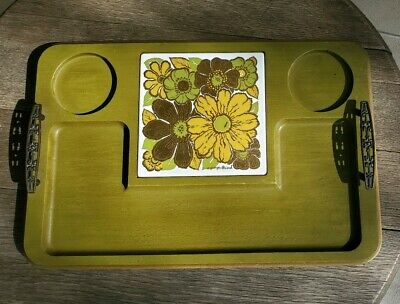 Georges Briard Serving Tray Trivet Green Wood Charcuterie Cheese Board MCM 1960s