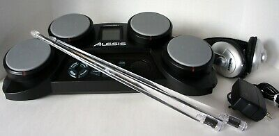 ALESIS CompactKit 4 Portable Tabletop Electronic Drums w/RockStix2 & Headphones