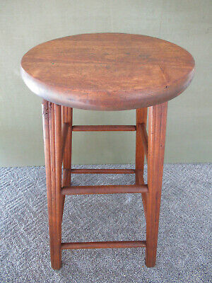 "Antique Stool Primitive Vintage Pine, Ash Wood 24"" Tall 13"" Seat, 4-Leg Stand"